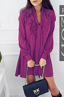 Tie Collar  Flounce  Patchwork Plain Casual Dresses