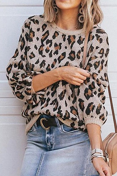 Round Neck  Leopard Printed Sweaters