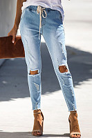 Women's Button Lace-Up Hole Jeans