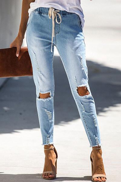 Women's Button Lace-Up Hole Jeans