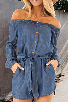 Off Shoulder  Belt  Plain  Long Sleeve Denim Overalls