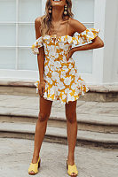 Off Shoulder  Backless  Floral Printed  Extra Short Sleeve Bodycon Dresses