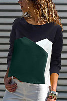 Casual Contrast Color Long Sleeve T-Shirt