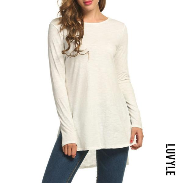 White Round Neck Asymmetric Hem Side Slit Plain T-Shirts White Round Neck Asymmetric Hem Side Slit Plain T-Shirts