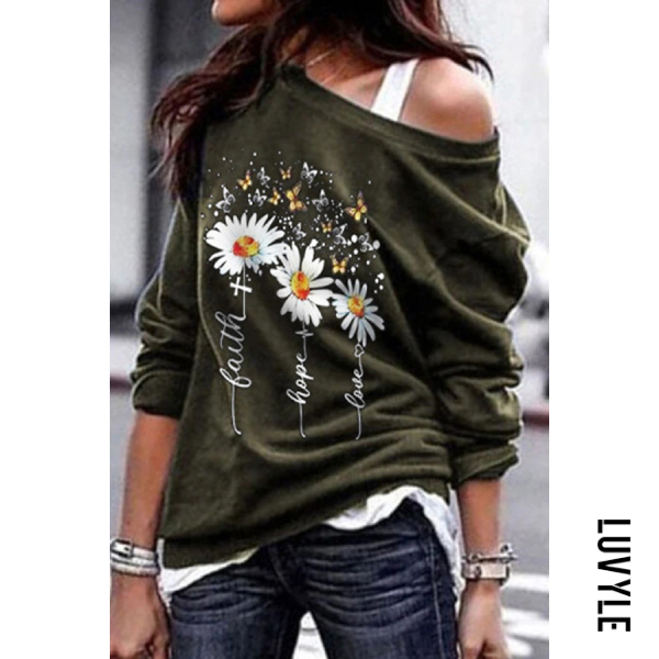 Green Daisy Open Shoulder Collar Hoody Green Daisy Open Shoulder Collar Hoody