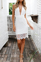 Deep V Neck  Back Hole  Hollow Out Lace Bodycon Dresses
