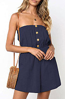 Strapless Plain Basic Sleeveless  Playsuits