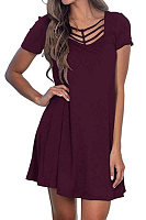 Casual Solid Color V-Neck Short Sleeve Dress