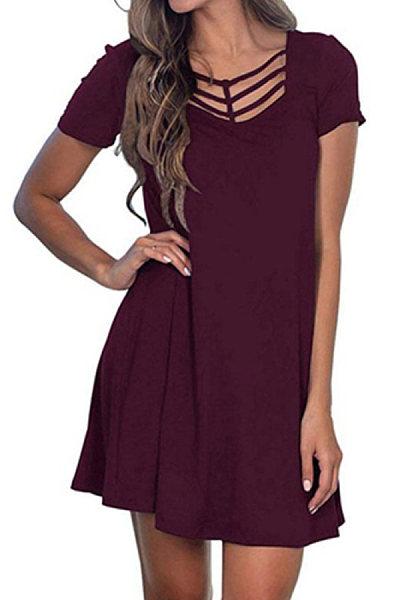 Casual Solid Color V-Neck Short Sleeve Dress