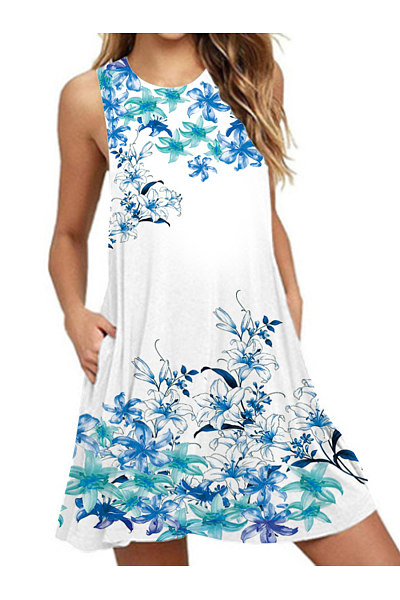 Round Neck Basic Beach Printed Shift Dress