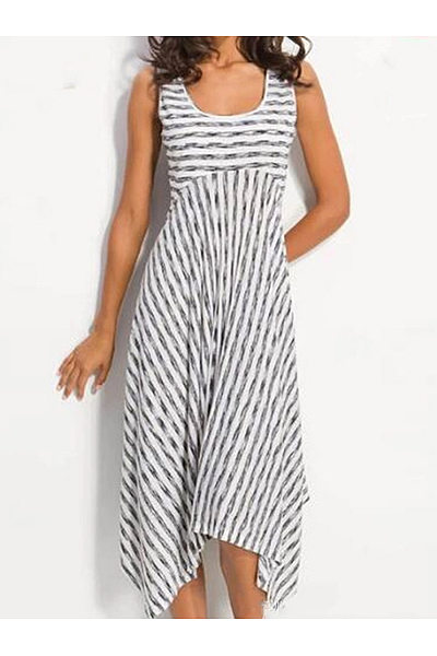 Scoop Neck Sleeveless Asymmetrical Hem Stripes Casual Dresses