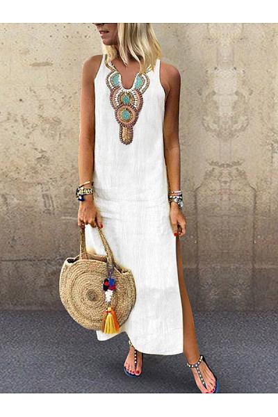 V Neck  Slit  Printed  Sleeveless Maxi Dresses