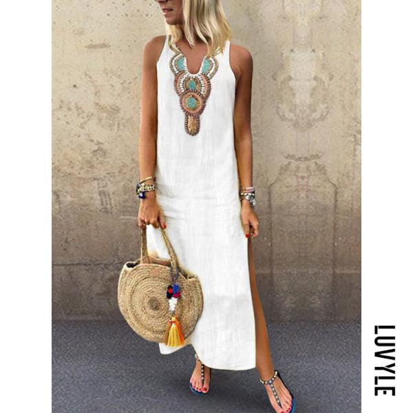 White V Neck Slit Printed Sleeveless Maxi Dresses White V Neck Slit Printed Sleeveless Maxi Dresses
