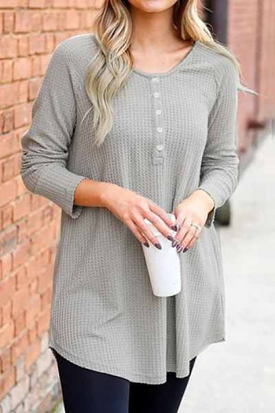 Casual Long Sleeve Knit T-Shirt
