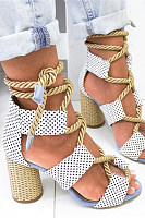 Color Block  Chunky  High Heeled  Peep Toe  Date Travel Sandals