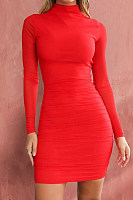 Sexy Fashion Solid Color Long Sleeve Bodycon Dress