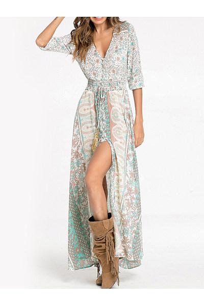 V-Neck  Elastic Waist  Printed  Polyester Maxi Dress