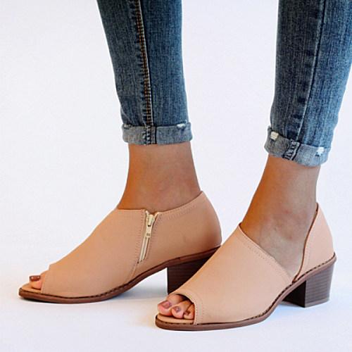 Chunky  Mid Heeled  Peep Toe  Casual Sandals