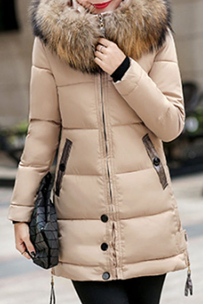 Faux Fur Collar  Slit Pocket Zipper  Quilted  Plain Coats