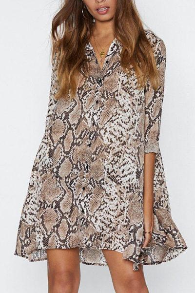 V Neck  Animal Printed  Long Sleeve Casual Dresses