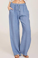Solid Cotton and Linen Casual Pants