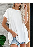 Round Neck Sweet Pullover Short-Sleeved Top