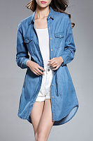 Button Down Collar  Drawstring  Long Sleeve Casual Dresses
