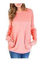 Autumn Spring  Cotton  Women  Round Neck  Patch Pocket  Plain Long Sleeve T-Shirts