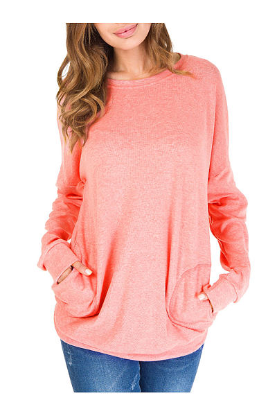 Autumn Spring  Cotton  Women  Round Neck  Patch Pocket  Plain Long Sleeve T-Shirts