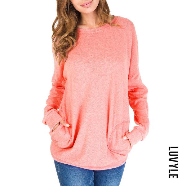 Pink Autumn Spring Cotton Women Round Neck Patch Pocket Plain Long Sleeve T-Shirts Pink Autumn Spring Cotton Women Round Neck Patch Pocket Plain Long Sleeve T-Shirts