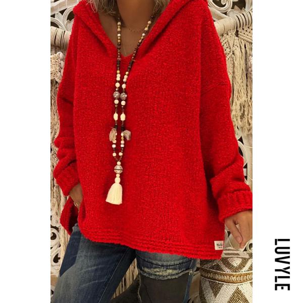 Hooded Plain Loose Long Sleeve Knitting Sweaters