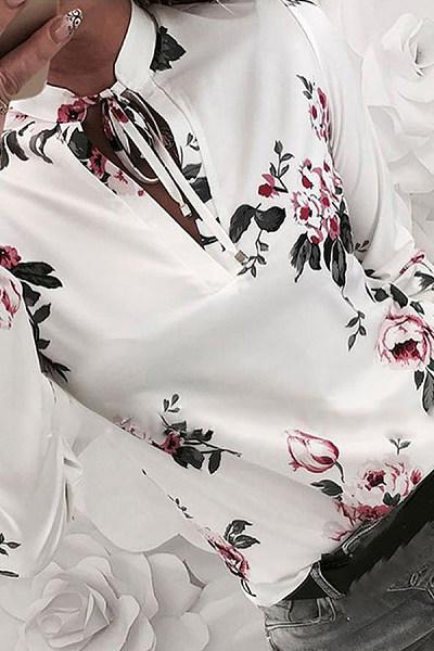 Fashion V-Neck Belted Printed Color Long Sleeve Blouse