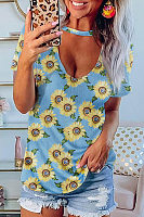 Hollow Out Daisy Printed Short Sleeve T-shirt