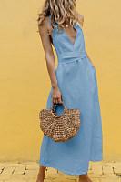 V Neck  Lace Up  Plain Maxi Dresses