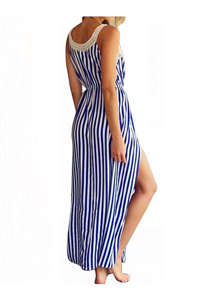 Spaghetti Strap  Elastic Waist  Printed Maxi Dress