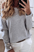 Fashion Solid Color One-neck Long Sleeve Top
