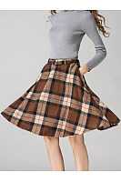 Plaid Belt Pocket Woolen Flared Midi Skirt