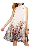 Band Collar  Print  Sleeveless Casual Dresses