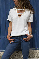 Fashion V Neck Pure Color Short Sleeve T-Shirt