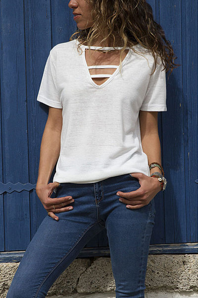 Fashion V Neck Pure Color Short Sleeve T-Shirt