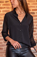 A Lapel Lace Sleeve Plain Blouse
