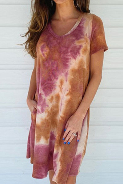 Fashion - gradient tie-dye loose-sleeved dress for women
