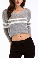 V Neck  Exposed Navel  Striped Sweaters