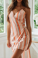 Spaghetti Strap  Striped  Sleeveless Bodycon Dresses