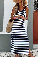 Beach Casual Round Neck Strap Striped Split Dress