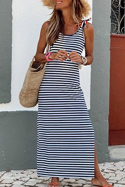 Beach Casual Round Neck Strap Striped Split Dress