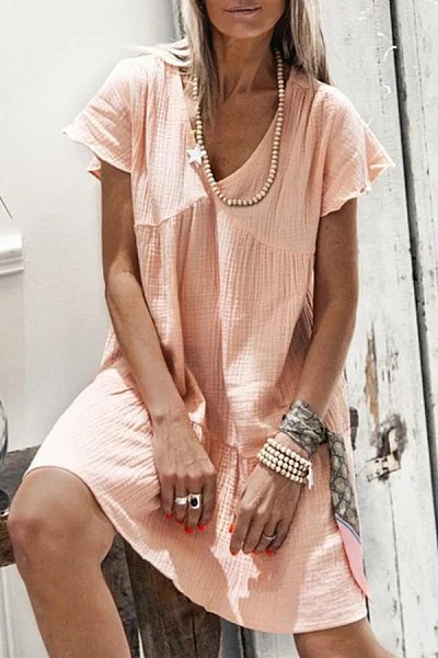V Neck Solid Color Short Sleeve Mini Dress