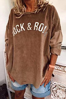 Casual Round Neck Letter Print Long Sleeve T-Shirt
