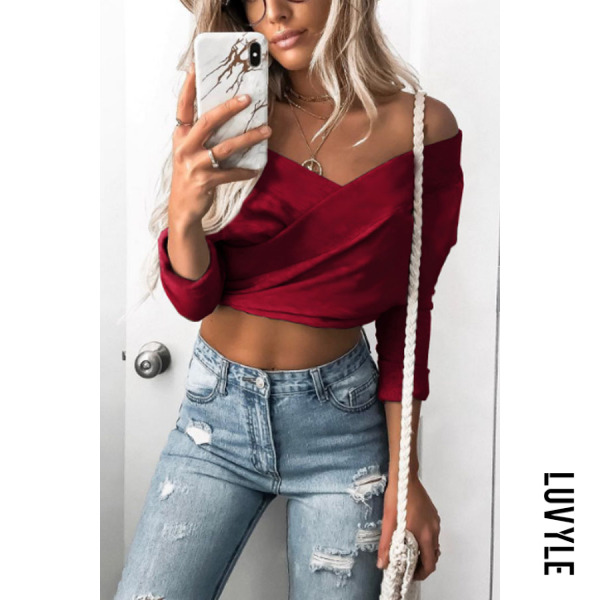 Red Off Shoulder Backless Exposed Navel Plain T-Shirts Red Off Shoulder Backless Exposed Navel Plain T-Shirts
