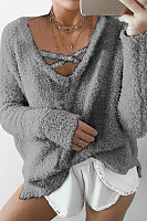 V-Neck Solid Color Cross Rope Mohair Hooded Sweatershirt
